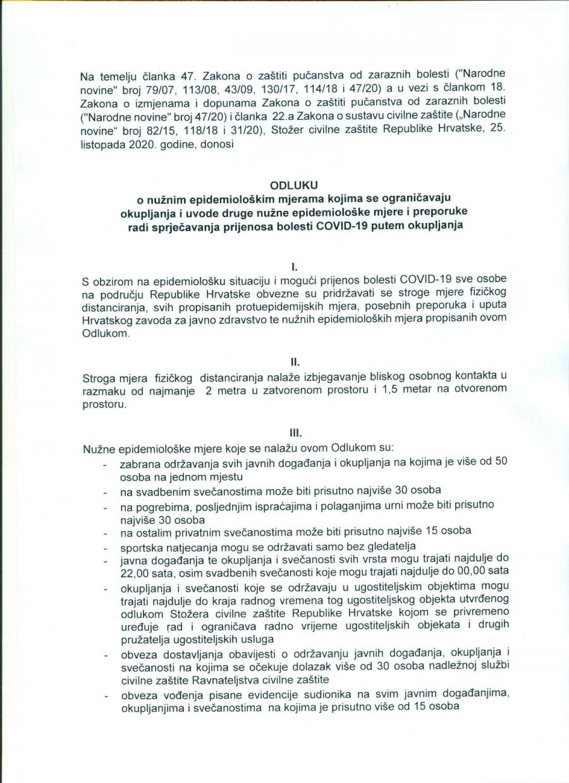 Nove mjere Nacionalnog stožera civilne zaštite