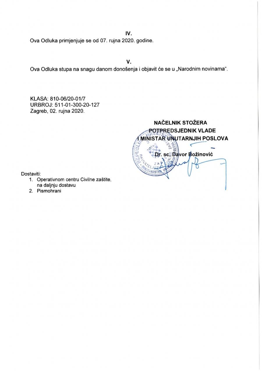 Odluka Nacionalnog stožera civilne zaštite za Požeško – slavonsku županiju