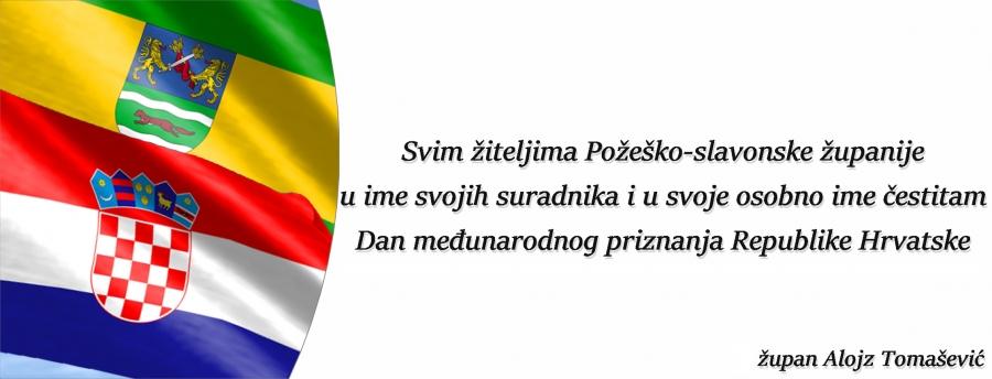 Čestitka povodom 28. obljetnice međunarodnog priznanja i 22. obljetnice mirne reintegracije hrvatskog Podunavlja